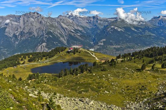 At the mountain lake Lac de Tracouet in the hiking area Haute-Nendaz, Nendaz, Valais, Switzerland