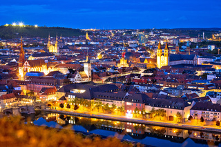 Old town of Wurzburg and Main river evening view from above
