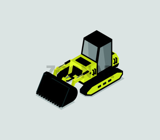 isometric excavator icon illustrated on a white background