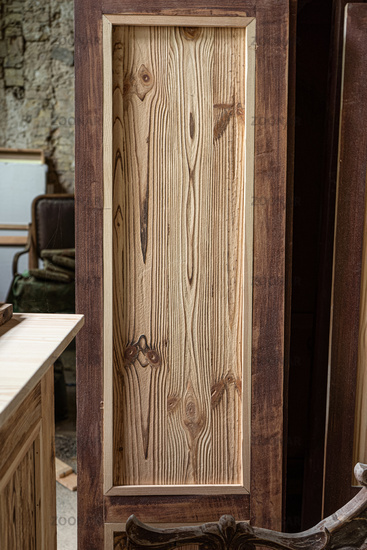 Wooden door template in carpentry workshop. High quality photo