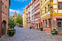 Nurnberg. Famous Weissgerbergasse historic street in Nuremberg old town view