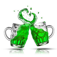Two bouncing beer mugs with green drink splashes.