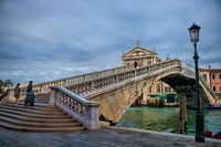 Venice, Italy - March 19, 2019 - Ponte degli scalzi on the Grand Canal