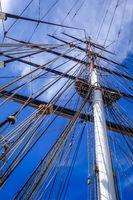 Old ship mast and sail ropes closeup
