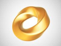 3D golden deformed torus isolated on white background.