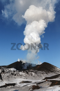 Eruption volcano: emission of lava, steam, gas and ash. Russian Far East, Kamchatka Peninsula