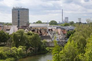 Stadtansicht von Luenen mit Rathaus