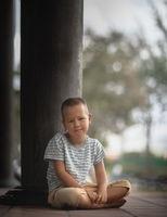 Outdoor portrait of a little boy