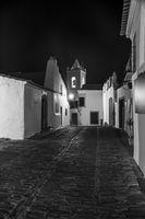 Monsaraz at night in black and white, Alentejo, Portugal