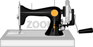 Rare sewing machine with manual drive - vector illustration. They're going against a white background.