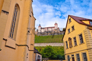 Wurzburg. Architecture and and scenic Wurzburg castle and vineyards in Wurzburg view
