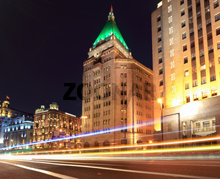 beautiful night view of shanghai bund