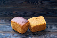 Homemade bread on dark wooden table