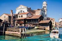 Venice, Italy - 03/20/2019 - historic gondola shipyard and san trovaso