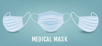 Medical Mask Banner With mint Background