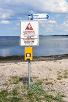 Danger Sign On A Beach