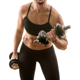 Young fit woman with perfect fat free body exercising biceps curls with dumbbells, screaming, isolated on white background. Weight loss, fitness, workout concept.