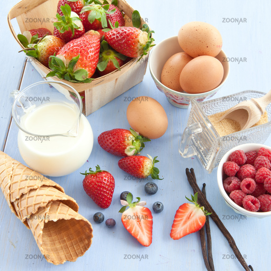 Ingredients for the preparation of ice cream