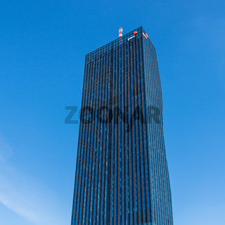 Detail Bottom View on Donau City Tower, DC Tower, of Danube City in Vienna, Austria, Europe