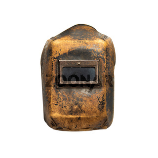 Aged thirty years old welding mask with traces of wear, front view. Isolated on white background with clipping path