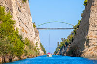 Yachts Pass Along the Corinth Canal and Blue Sky