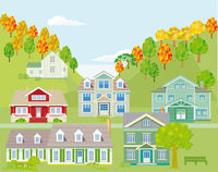 Small town in the mountains, landscape - illustration,