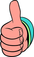 Thumb up gesture icon cartoon