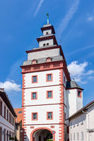 Steinheim gate tower in the old town of Seligenstadt in the Offenbach district, Hesse