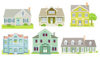 different family houses and apartment houses, country houses, wooden houses illustration