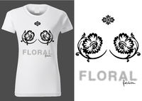 Women White T-shirt Design with Floral Elements
