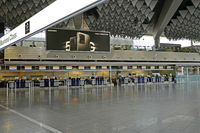 Empty boarding hall A - no passengers and less visitors at rhine main airport frankfurt
