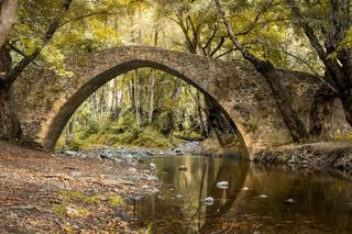 Kelefos or Tzielefos venetian bridge in Troodos Mountains, Cyprus. Between Agios Kiolaos and Platres