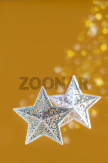 Christmas composition with silver stars.
