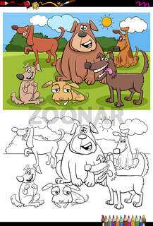 dogs animal characters group color book page