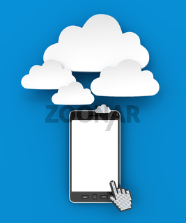 Smartphone connecting to cloud with copyspace, 3d render