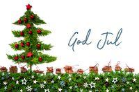 Christmas Tree, Red Balls, Fir Branch, God Jul Means Merry Christmas