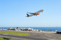 Airplane taking off, Madeira airport