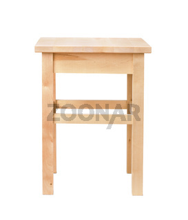 Front view of unpainted wood square stool