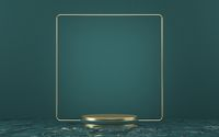 Mock up podium for product presentation golden frame in deep wavy water 3D