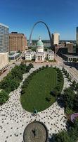 Aerial Veritical Composition Downtown City Center St Louis Missouri