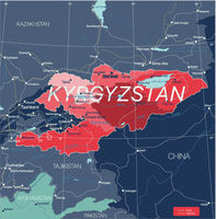 Kyrgystan country detailed editable map
