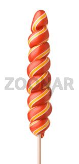 Front view of red twisty lollipop
