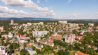 Truskavets, Ukraine - July 29, 2019: Aerial view of Truskavets town, Ukraine. Popular healing spa resort with mineral springs. Known as Kurortopolis Truskavets