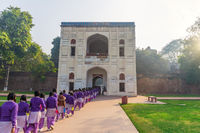 Indian school girls on the tour to the Humayun's tomb, New Dehli, India