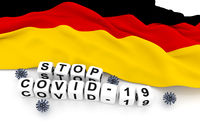 Germany flag and text stop covid-19