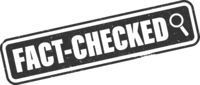 grungy FACT-CHECKED label or rubber stamp with magnifying glass icon