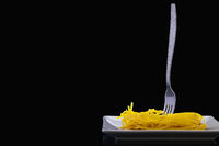 Stainless fork and tagliatelle pasta on the white plate.