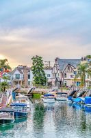 Amazing canal scenery with boats and waterfront homes in Long Beach California