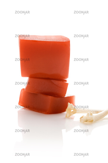 Collagen jelly isolated on white background.