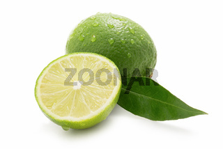Sweet limes with leaf isolated